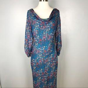 Sundance Blue Floral Silk Long Maxi Dress